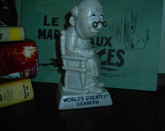 "Vintage 1970  R & W Berries Resin Figurine ""World's Greatest Grandpa"""