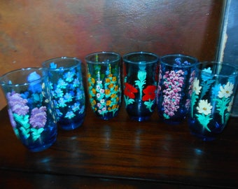 Vintage Hand Painted Blue Drinking Glasses