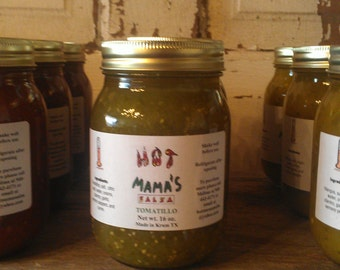Handmade homemade medium tomatillo salsa 16 oz. pint