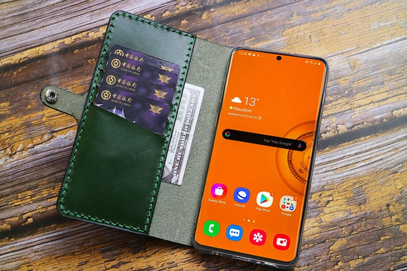 Handmade Galaxy Note 20 Ultra 5G Leather Wallet Case Leather Wallet Case Personalized Wireless Charging