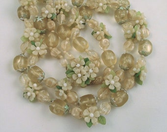 Necklace Plastic Floral Hong Kong Double Strand White Green Vintage Flowers Leaves
