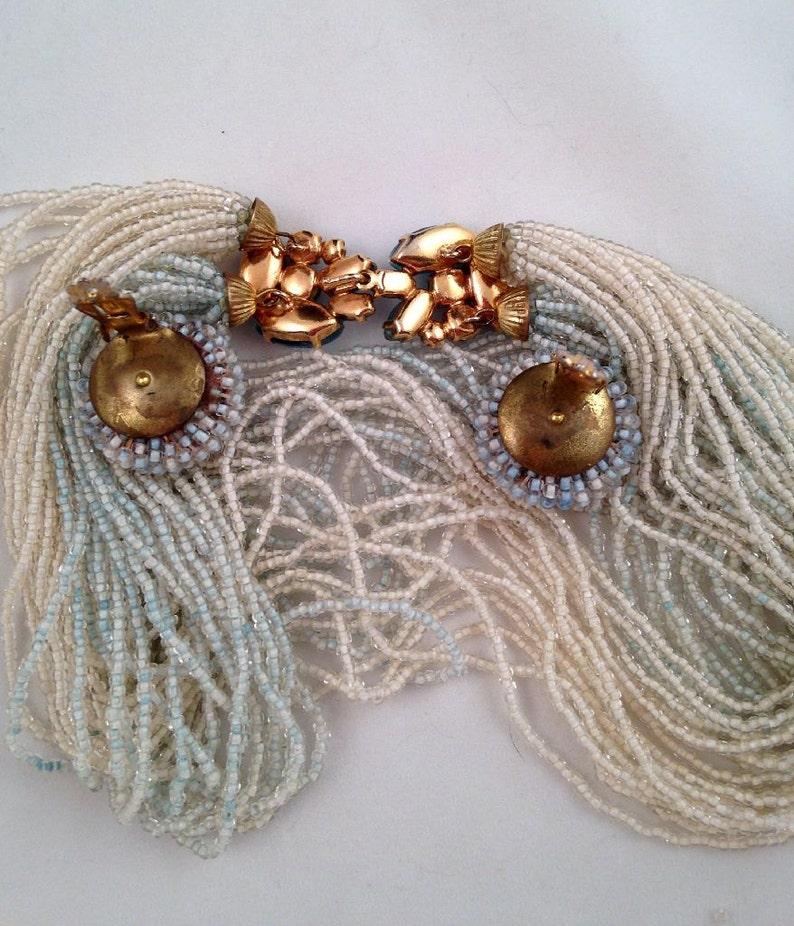 Blue White Beaded Necklace Clip Earrings Vintage 1960s Seed Beads Valjean Spun Sugar