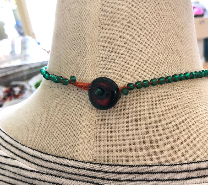 Sea Green /& Orange Five Hollow Drops Beaded Chain Necklace with Handmade Glass Button 16