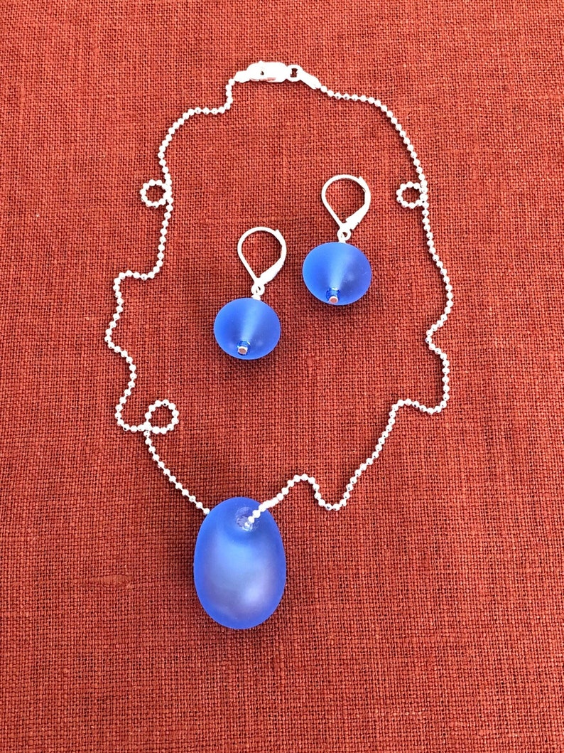 Light Blue Frosted Tiny Hollow Drop Handmade Lampwork Glass Beads on Sterling Silver Hoops