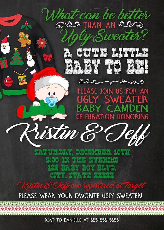 Ugly Christmas Sweater Customizable Baby Shower Invitation Etsy