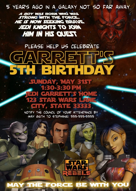 Star Wars Rebels Customizable Birthday Invitation Digital Printable 5x7 File
