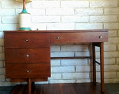 OnSaleNowVintage Stanley Mid Century Modern Walnut Desk with original chrome hardware 1950's 4-drawer writing table office storage