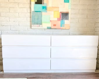 Vintage Mid Century Modern Minimalist White Lacquer Low Profile Dresser