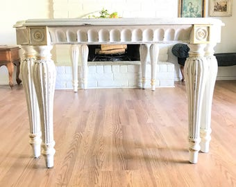 Vintage Louis XVI Neoclassical Style French Country Distress Painted Solid Mahogany Urban Farmhouse Dining Table