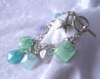 New Year's Resolution pastel glass charm bracelet with silver star