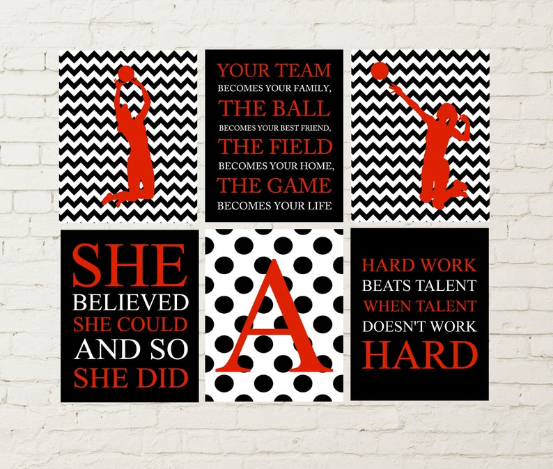 Volleyball Girl Player Girls Quote Art Volleyball Wall Art Etsy