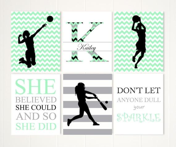 Softball art, volleyball art, basketball art, teen girl wall art, sports  inspired room decor, inspirational quotes, set of 6, custom sports