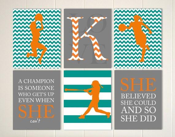 Motivational sports quotes art, girls basketball art, softball wall art,  sorts art for girls, quotes art for girls, girls wall art, set of 6