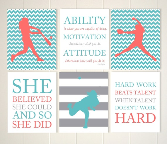 sports motivational wall art Girls softball wall art set of 3 girls room decor quote art for girls custom colors girls wall art