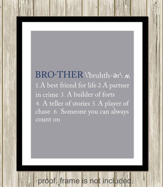 Brother definition brothers wall art sisters wall art | Etsy