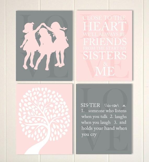 Three sisters wall art siblings art girls wall art friends | Etsy