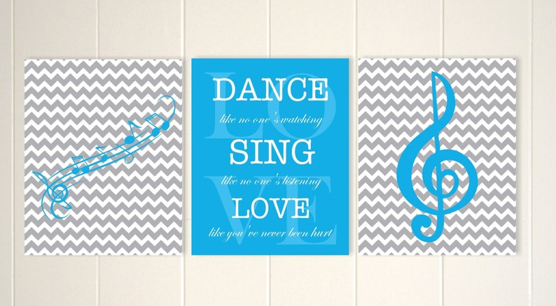 Musical theme wall art, treble clef wall art, musical notes, girls music  wall art, girls inspirational art, set of 3