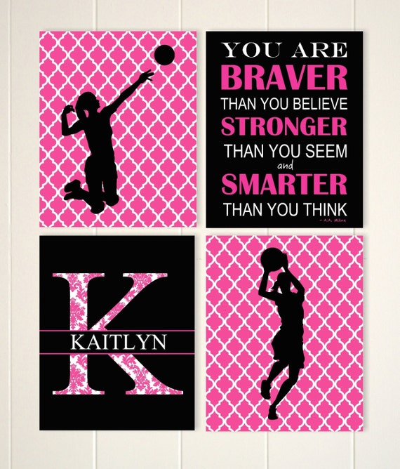 girls volleyball Sports room decor custom colors set of 4 prints teen girl gift girls basketball girls wall art teen girls room art