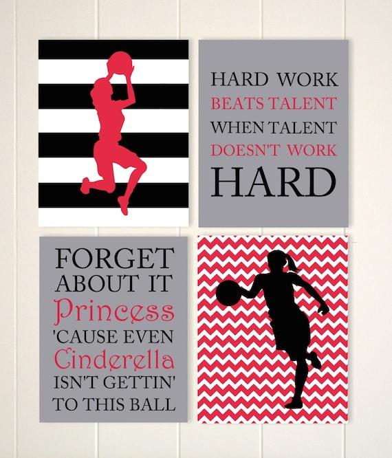 Basketball girl wall art, basketball player, basketball room decor,  basketball quotes art, inspirational girls quotes, set of 4