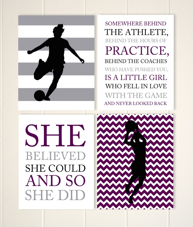 Girls wall art teen girl gift idea soccer girl basketball | Etsy