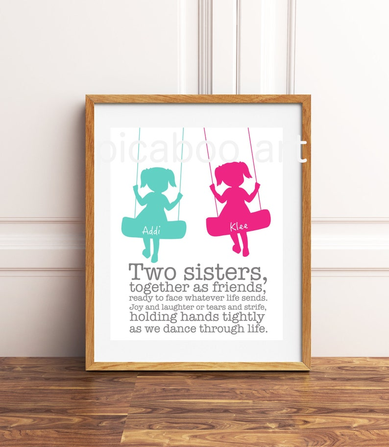 Sisters Wall Art Sisters Shared Room Twin Girls Wall Art Etsy