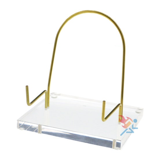 """Plate Display Stand Easels 4-1//2/"""" Adjustable Clear Acrylic Holders 3 Pack"""