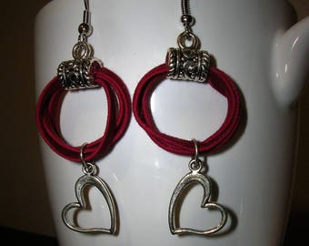 Red Suede Hoops/ Silver Heart Earrings