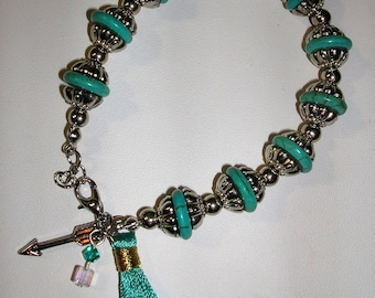 Silver and Turquoise Bracelet with Tassel