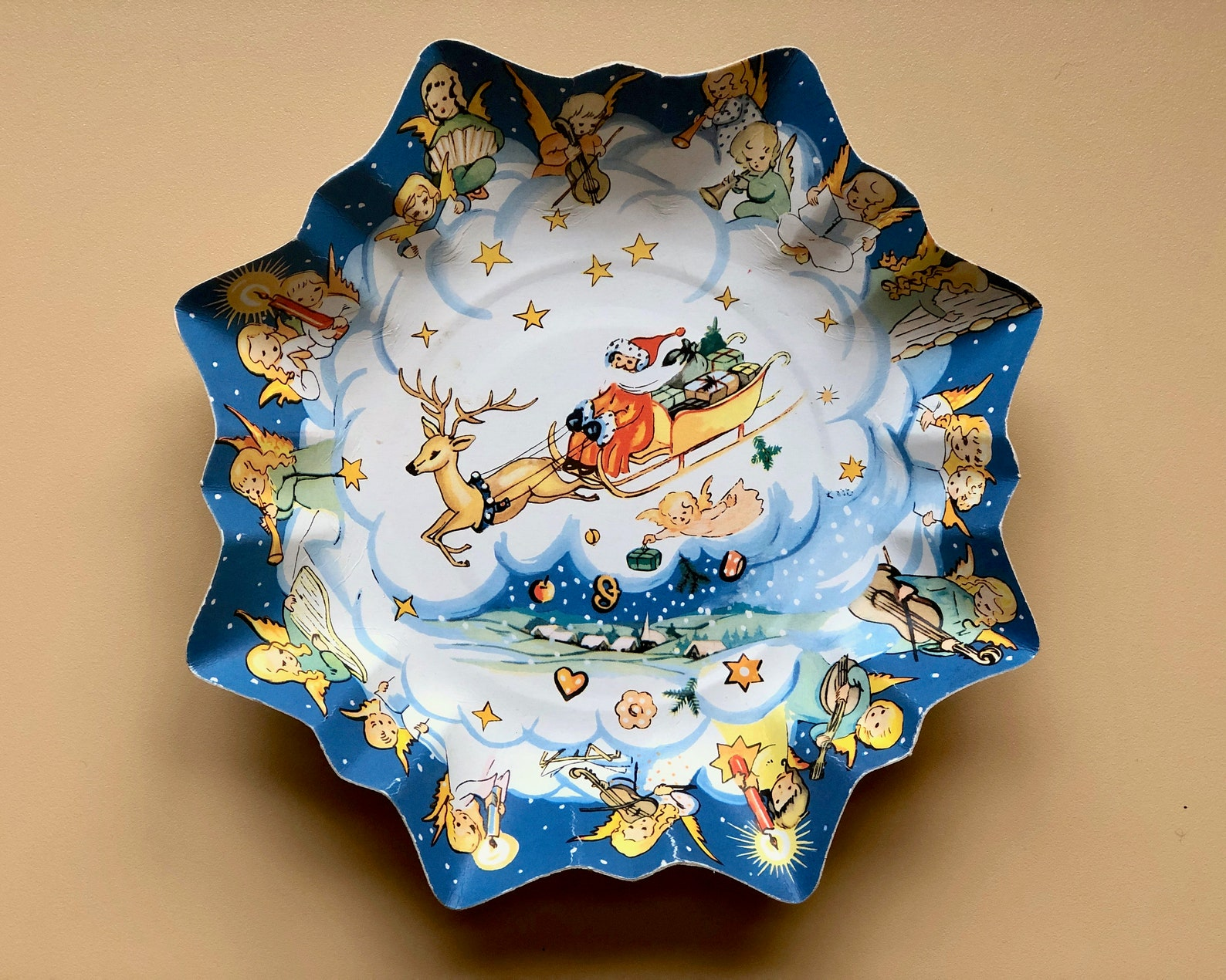 Pressed Paper Christmas Cookie Plate Tray from West Germany - Santa's Sleigh and Angel Musicians