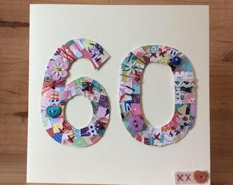 60th Birthday Patchwork card