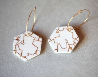 Ready to ship, Nevery, porcelain and gold earrings, glazed .Porcelain jewelry