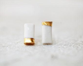 Bodva, porcelain and gold earrings, glazed .Porcelain jewelry
