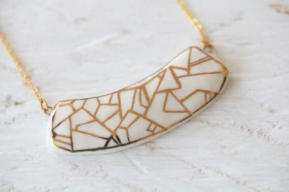 Porcelain jewelry one of a kind glazed with gold porcelain pendant Kama OOAK