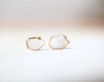 Ready to ship, Seine, porcelain and gold earrings, glazed .Porcelain jewelry