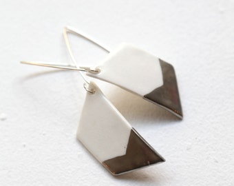Bhavani, porcelain and siver earrings, glazed . Porcelain jewelry made with love .
