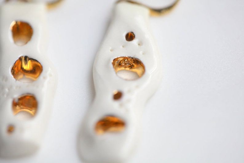 Porcelain and gold earrings glazed Ceramic jewellery Porcelain jewelry Vai