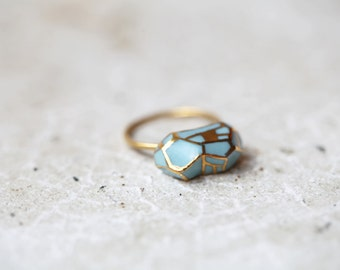 Loire , porcelain and gold Earth drop ring, yellow vermeil