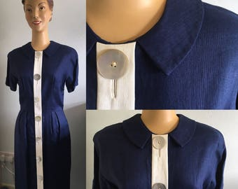 1950'S LAIGLON LINEN WIGGLE Dress