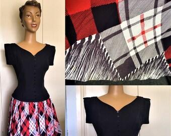 Original 1950's Black and Plaid Cotton Dress