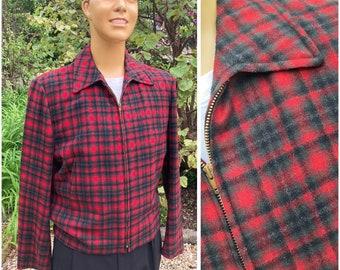 ORIGINAL 1950'S MENS PENDLETON Plaid Wool Jacket