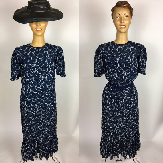 1940's NAVY SILK PRINT Dress