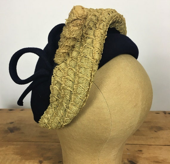 1940's/ 50's FELT & STRAW HAT Navy Blue