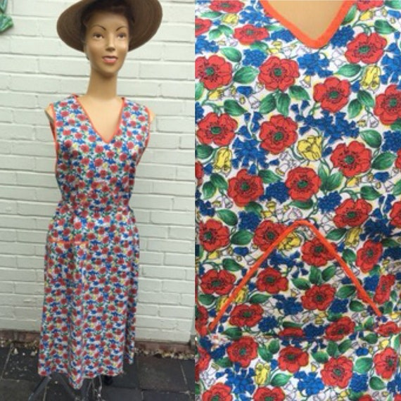 ORIGINAL 1940s COTTON HOUSE Chore Dress