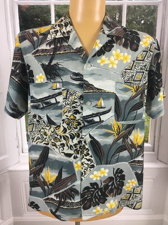 1950'S PENNEYS RAYON ALOHA Men's Hawaiian Shirt - image 3