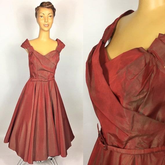 ORIGINAL 1940s/ 1950S TAFFETA EVENING Dress