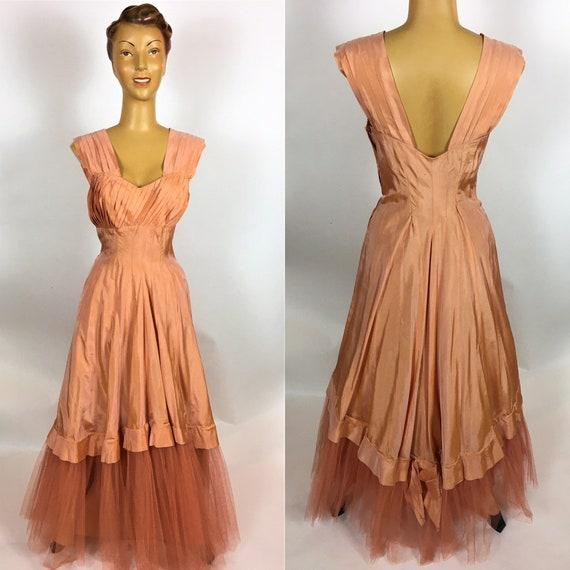 ORIGINAL 1940;s PEACH RAYON Gown Dress