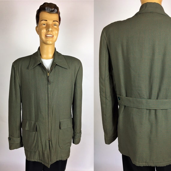 ORIGINAL 1950's GABARDINE CAR Coat Quilted Gabardi