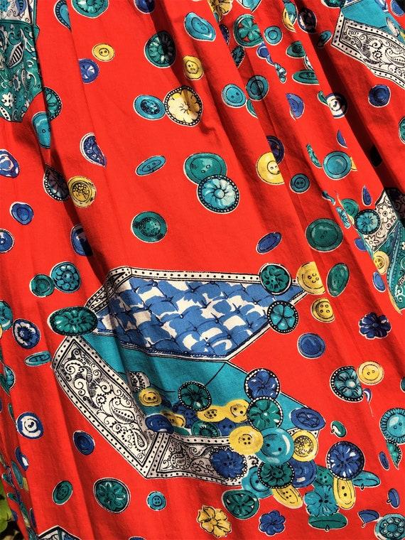 1950'S NOVELTY BUTTON Print Cotton Skirt - image 3
