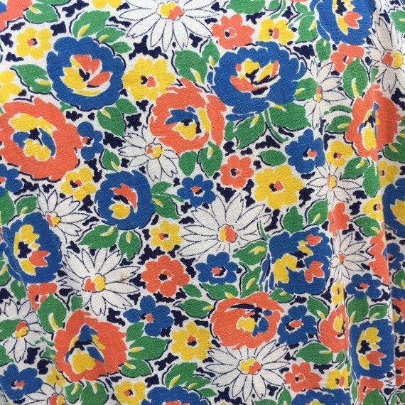 ORIGINAL 1930s /40s COTTON HOUSE Floral Print Dre… - image 9