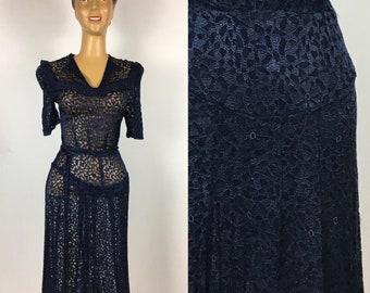 ORIGINAL 1940s RAYON LACE  Dress